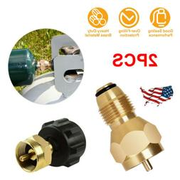 2 Pcs QCC1 Propane Refill Adapter Lp Gas 1 Lb Cylinder Brass