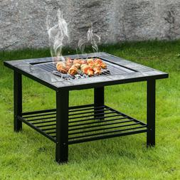 30'' Outdoor Garden Fire Pit BBQ Grill Brazier Square Stove