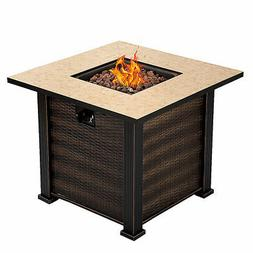 """30"""" Square Propane Gas Fire Pit  50000 BTUs Heater Outdoor T"""