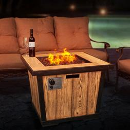 "DIAN 32"" Outdoor Patio Gas Fire Pit Wood Grained Propane G"