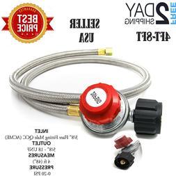 4-6Ft 0-20 PSI Hose QCC Propane High-Pressure Adjustable Reg