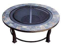 Hiland AZ Patio Heaters Fire Pit with Round Table, Wood Burn