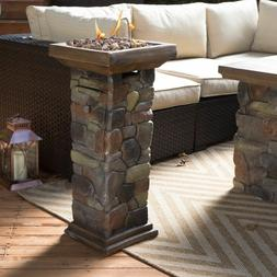 Outdoor Fire Pit Burner Tile Stone Propane Table Rustic Heat