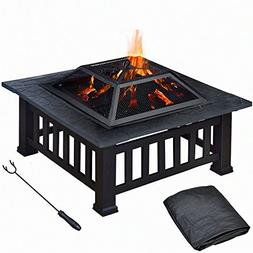"Topeakmart 32"" Square Metal Fire Pit Outdoor/Camp/Backyard/P"