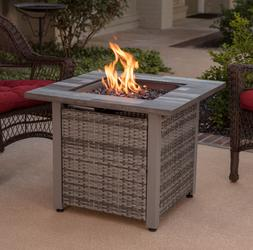 Fire Pit Table Gray Fire Glass Patio Heater Concealed LP Tan