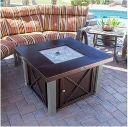 Fire Pit Table Lid Outdoor Patio Propane Gas Heater Fireplac