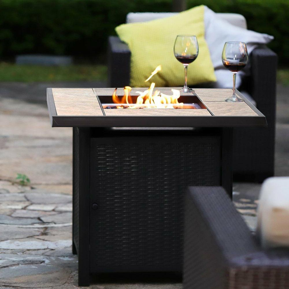"32"" 50,000BTU Outdoor Gas Fire Pit Propane Gas Heater Patio"