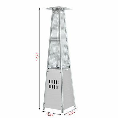 40,000BTU Patio Heater Stainless Steel Propane Glass Tube Dancing