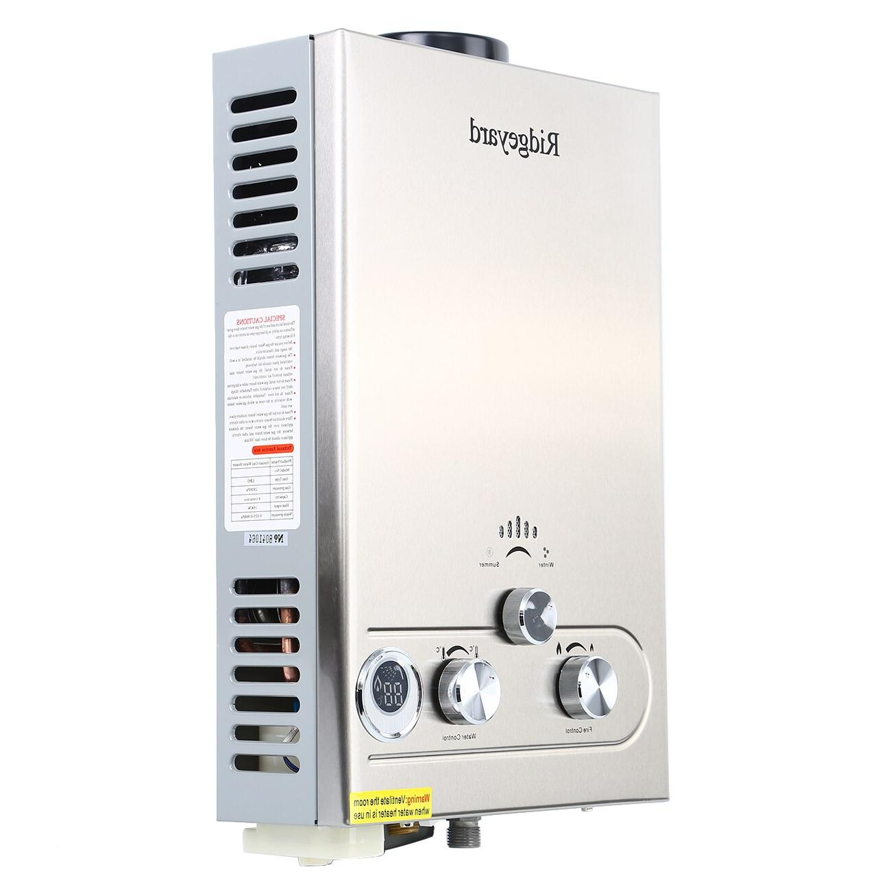 8L Boiler <font><b>Propane</b></font> <font><b>Gas</b></font> 2GPM Tankless <font><b>Heater</b></font> Stainless Steel