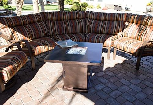 Hiland GSF-PR-PC Fire Pit in Hammered Bronze and Stainless Bronze
