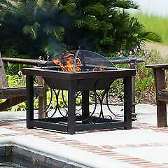 Fire Sense Hammer Tone Bronze Finish Cocktail Table Fire Pit
