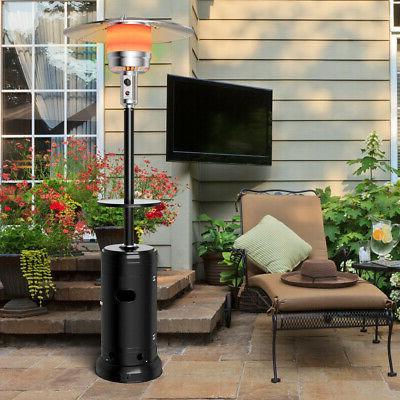 Outdoor Patio Heater Propane Standing Gas Steel W/Table Wheels Black