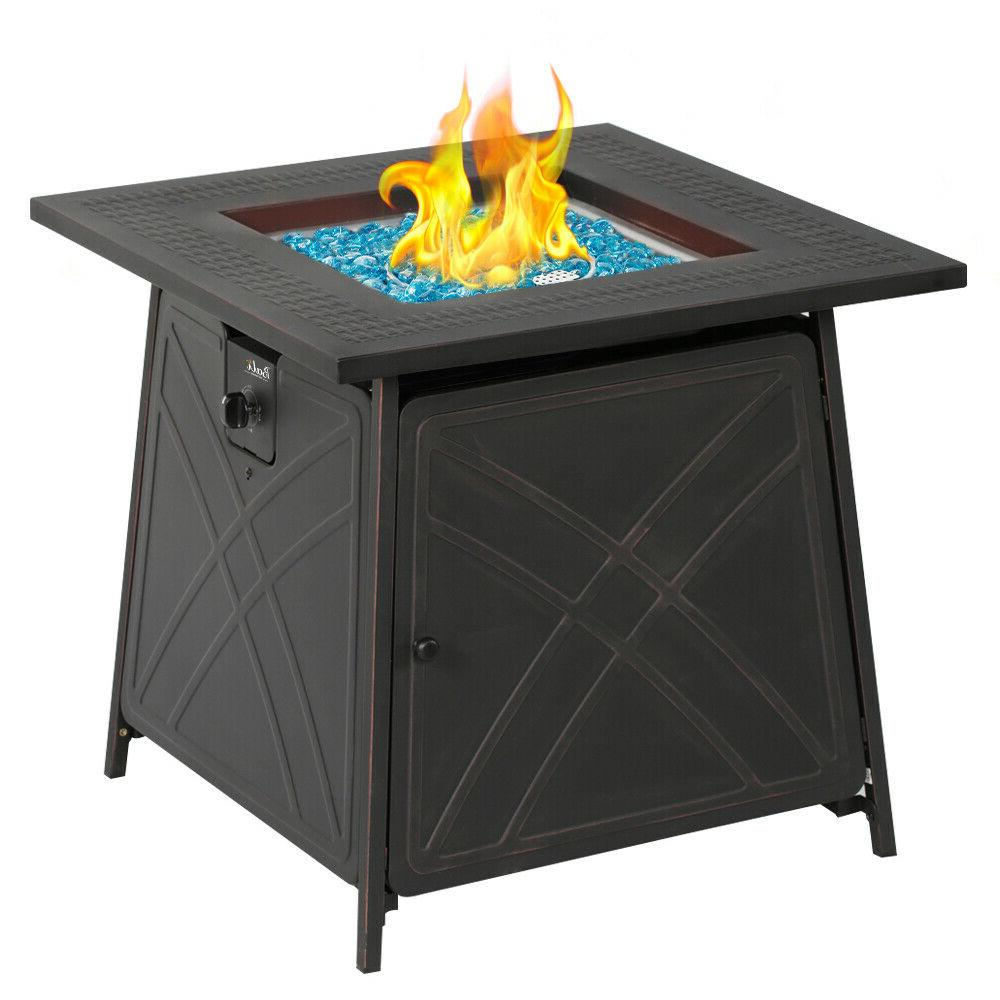 """28""""Outdoor Propane Fire Patio Square Fireplace Blue"""