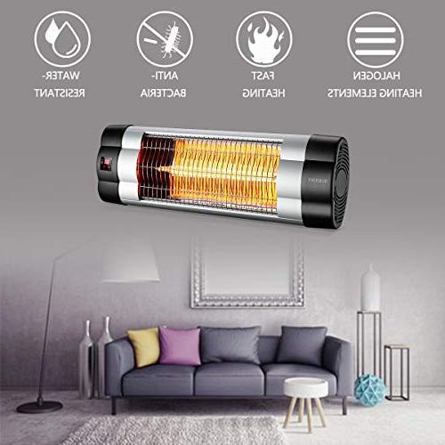 SURJUNY Wall-Mounted Heater Heater, 1500W Adjustable 3 Waterproof W01