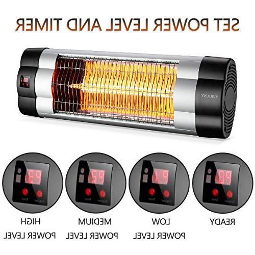 SURJUNY Heater, Wall-Mounted Outdoor Heater LCD Display, Heater, 1500W 3 Seconds Warm, Waterproof W01