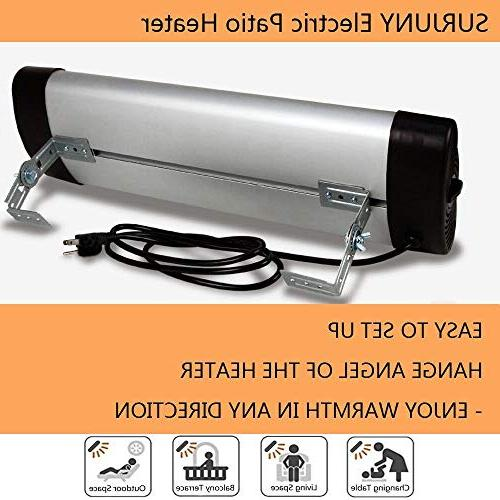 SURJUNY Heater, Electric Wall-Mounted Outdoor Heater with LCD Display, Heater, 1500W Thermostat, 3 Instant Warm,
