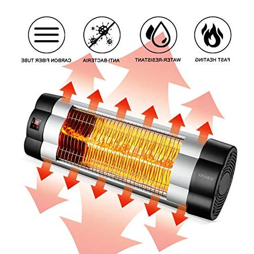 SURJUNY Heater, Electric Wall-Mounted LCD Display, Heater, 1500W Adjustable Thermostat, 3 Waterproof Rated,