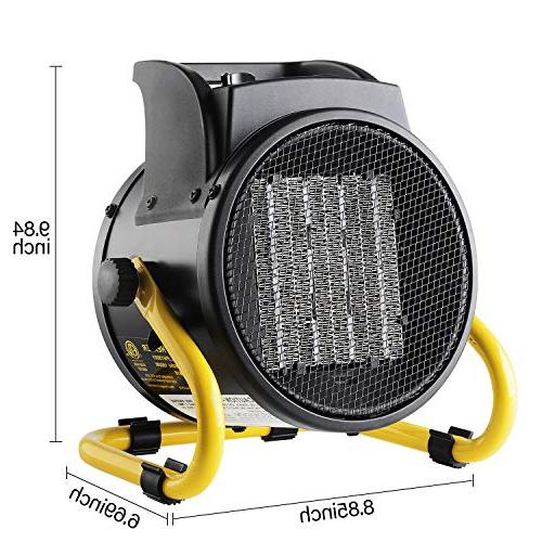 PROWARM Space Heater Thermostat Adjustable Modes Overheat Oscillating Office Use 20/750/1500W,Portable Small yellow
