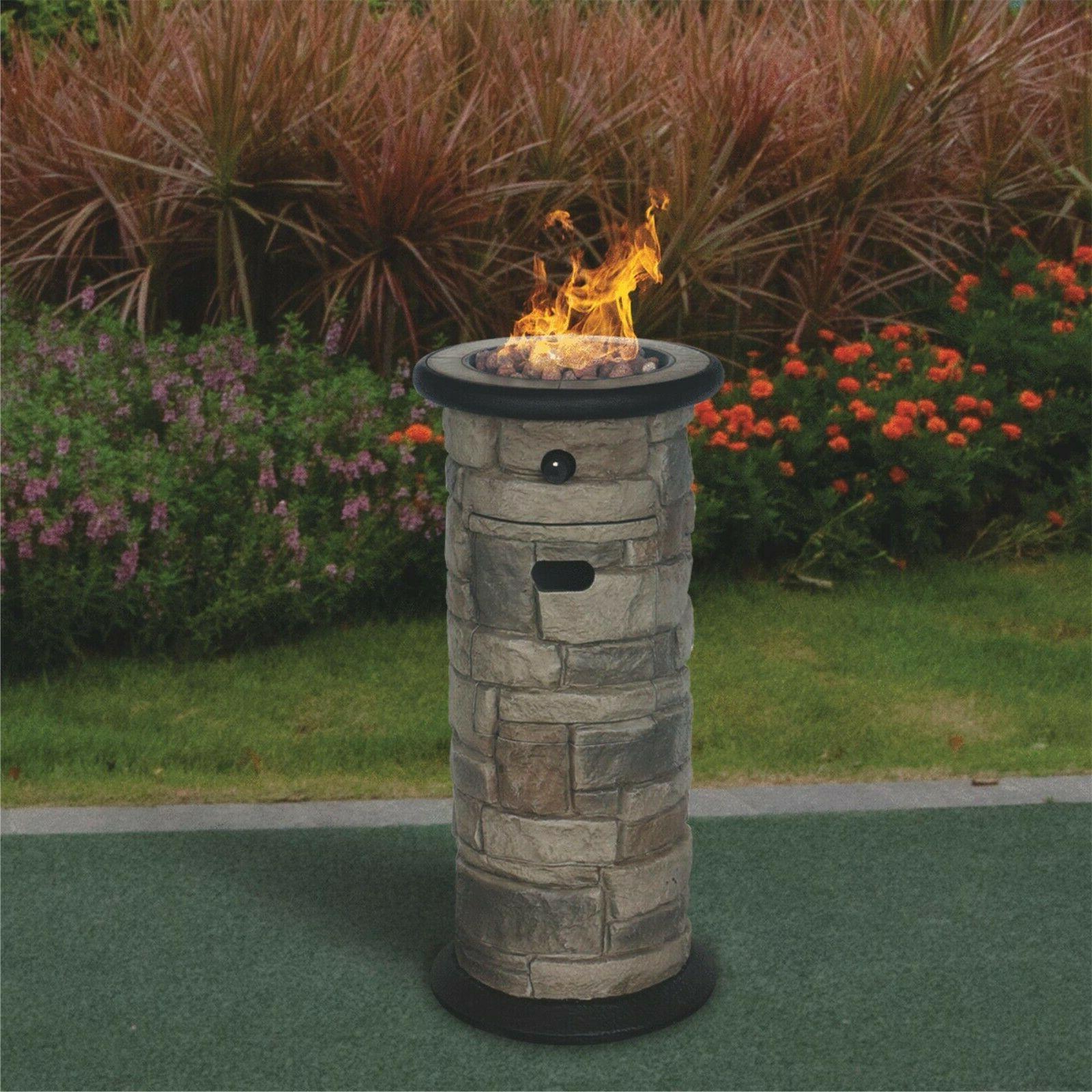 Fire Bowl Column Propane Backyard Patio Living Area Space Wa