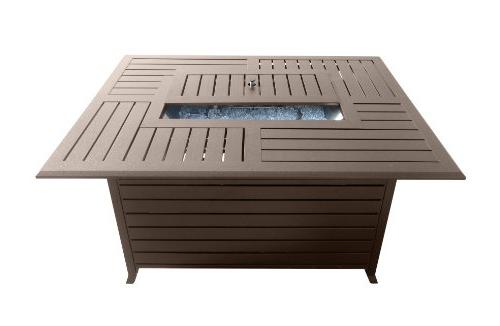 rectangle aluminum slatted fire pit