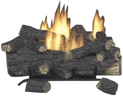18 in. Vent Free Propane Fireplace Logs Insert Heater Remote