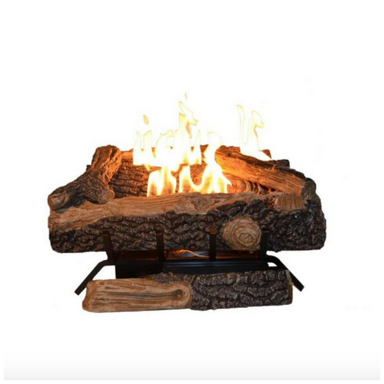 24 in. Vent Free Propane Gas Fireplace Logs Insert Adjustabl