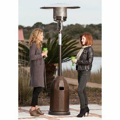 wicker base propane patio heater mocha