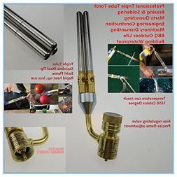 Mapp Gas Welding Torch Brazing Gun Supper 3 Pipes Propane Ga