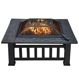 "Yaheetech 32"" Outdoor Metal Firepit Square Table Backyard Pa"