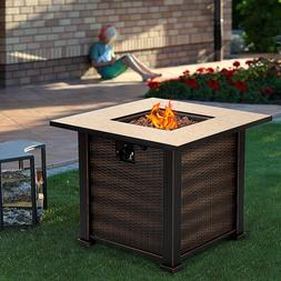 Outdoor 50000 BTUs Propane Gas Fire Pit Heater Square Table