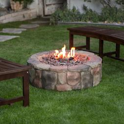 Outdoor Fire Pit Propane Gas 36 In Backyard Deck Stone Firep