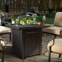 Barton Fire Pit Table with Fire Glass, Outdoor Patio Heater