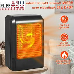 Portable Ceramic Space Heater - 500W Electric Heater Home Of