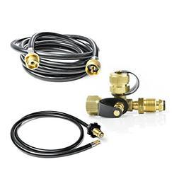 Stanbroil Propane Brass Tee Adapter Kit 4-Port 5-Feet 12-Fee