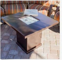 Propane Fire Pit Table Outdoor Gas Patio Heater w Lid Backya