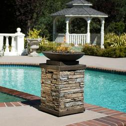 Propane firepit heater  outdoor gas  natural stone pool si