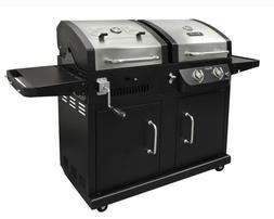 Propane Gas Charcoal Grill Dual Function 2 Burner Black Stai