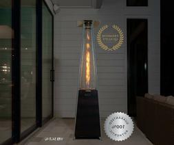 Pyramid Flame Patio Heater Propane Gas Stainless Steel Glass
