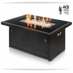 rown 44Inch Outdoor Propane Gas Fire Pit Table Black Tempere