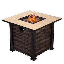 """Giantex 30"""" Square Propane Gas Fire Pit Table 50,000 BTUs He"""