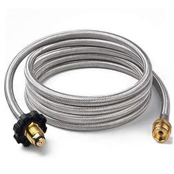 SHINESTAR 10FT Stainless Braided Propane Hose Adapter 1lb to